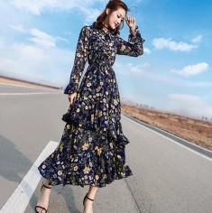Đầm maxi hoa bèo tầng -A6184