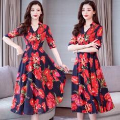 Đầm maxi hoa tulip cổ bẻ -T0499