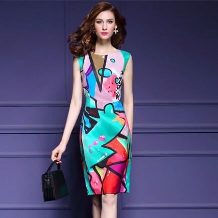 Đầm họa tiết màu lập thể - K172