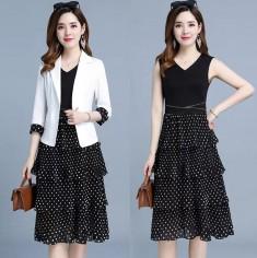 Đầm bi tầng kèm áo vest -A6203