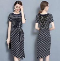 Đầm sọc lưng phối ren - K396