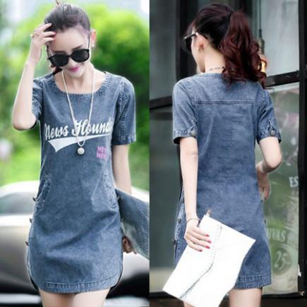 Đầm jean suông lai bầu - Y1951