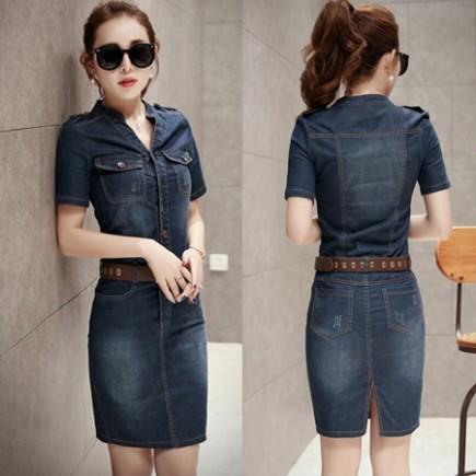 Đầm jean phối túi cầu vai - Y1985