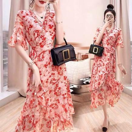 Đầm hoa đỏ bèo tầng - A6917