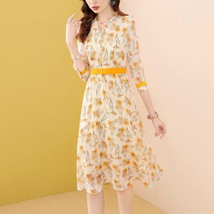 Đầm hoa gấm vàng tay lỡ - A6987