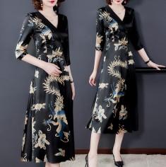 Đầm lụa phượng hoàng cổ vest - S30422
