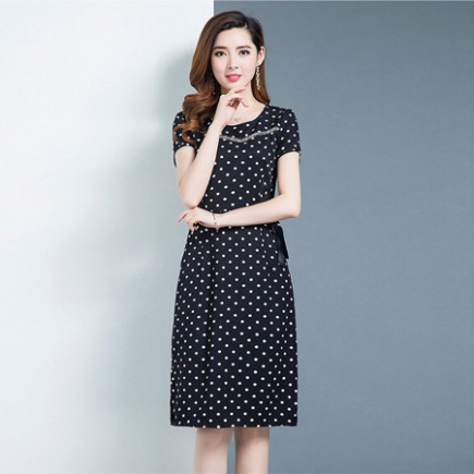 Đầm bi cổ tròn tay ngắn - K235