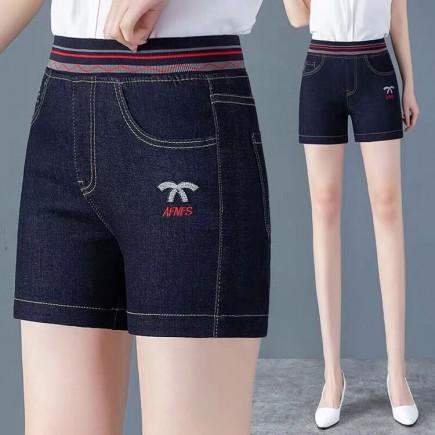 Quần short jeans lưng bo sọc -A6274