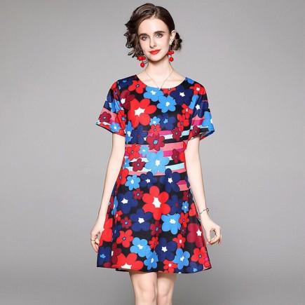 Đầm lụa hoa màu - A6996