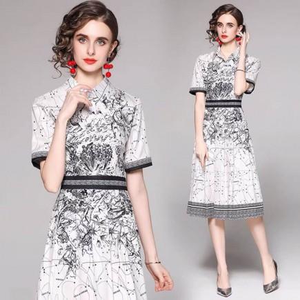 Đầm lụa sơ mi họa tiết - A7003