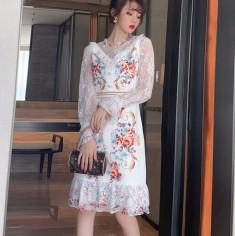 Đầm lụa bèo ren cao cấp - A7006