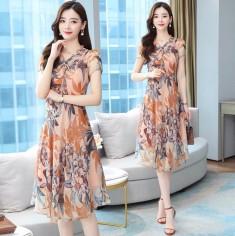 Đầm voan hoa nơ cổ - A7038