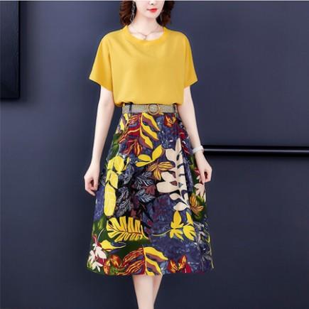 Set áo chân váy hoa kèm nịt - K263