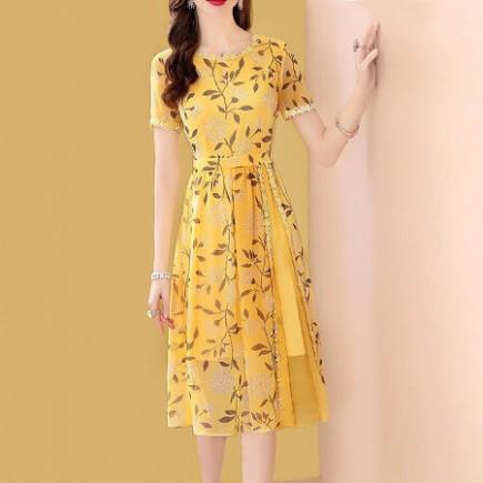 Đầm voan hoa vàng phối ren - K264
