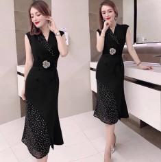 Đầm cổ vest phối bi kèm nịt - K426