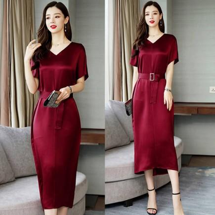 Đầm lụa suông thắt eo - S60521