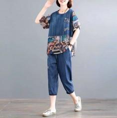 Bộ jean lửng phối họa tiết - A7103
