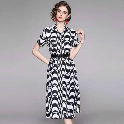 Đầm lụa gợn sóng kèm nịt - A7099