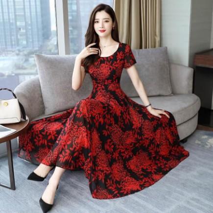 Đầm maxi hoa đỏ sang trọng - T0165