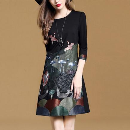 Đầm tay lỡ thêu hạc cao cấp - T0192