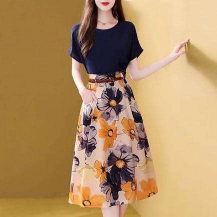 Set áo lụa chân váy hoa kèm nịt - T0201