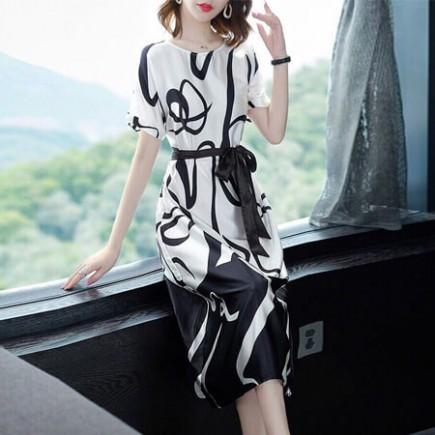 Đầm lụa họa tiết cao cấp - T0156