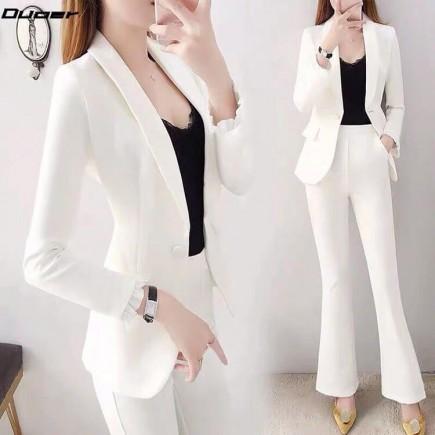Bộ vest trắng ống loe kèm áo lót -Y2227