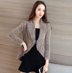 Áo khoác len lông hoa hồng -T0305