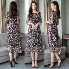 Đầm voan họa tiết viền đỏ -H080