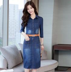 Đầm jean tay lỡ kèm nịt - K317