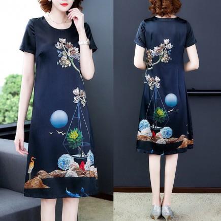 Đầm suông lụa họa tiết sang trọng - K324