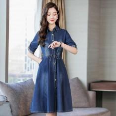 Đầm jean phối nút thắt eo -Y2101