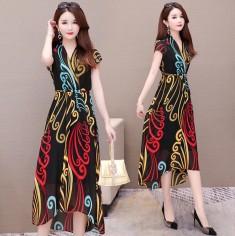 Đầm voan họa tiết sắc màu -K331