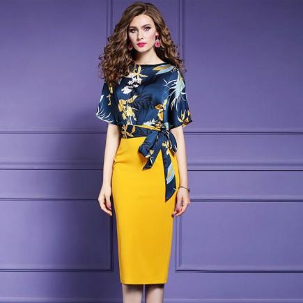 Đầm lụa hoa dáng ôm cột eo - T0251