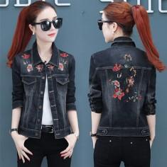 Áo khoác jean nữ thêu hoa - T0215