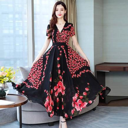 Đầm maxi hoa đỏ đắp chéo - T0225