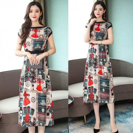 Đầm lụa họa tiết viền đen - T0238