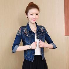 Áo khoác jean vai thêu hoa - T0241