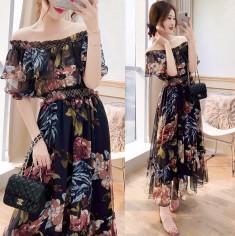 Đầm hoa bẹt vai phối bèo - T0245
