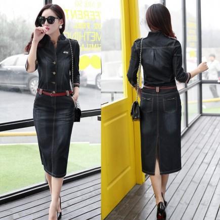 Đầm jean body kèm belt -Y2110