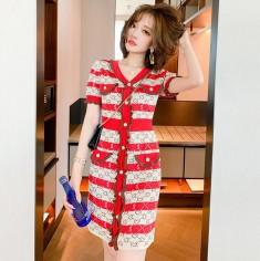 Đầm len sọc đỏ phối nút - A6606