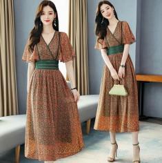 Đầm maxi hoa nhí viền ren - K447