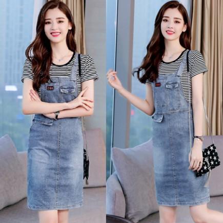 Yếm jean kèm áo thun sọc - Y1861