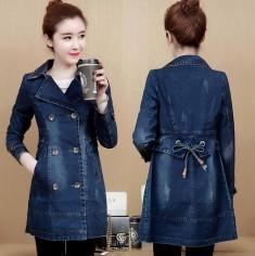 Áo khoác jean măng tô cổ vest -T0309