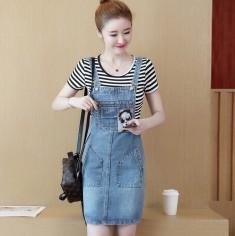 Yếm jean in cô gái kèm áo sọc -Y2102