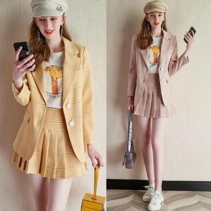 Set vest + chân váy caro cao cấp -H104