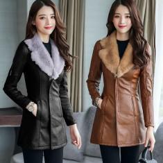 Áo khoác da form dài cổ lông -K115