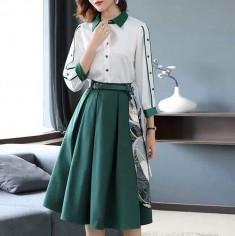 Set áo sơ mi + váy xòe kèm nịt -H119