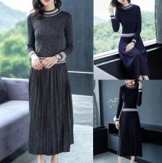 Set bộ áo + váy len dập ly -H121