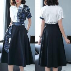 Set áo + chân váy xòe cột eo -H108